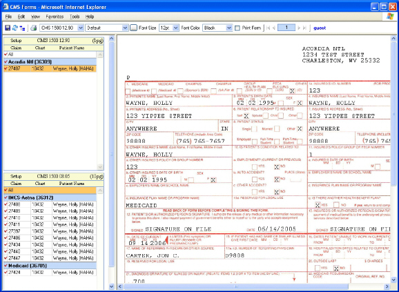 In The Example Below, Two Sections Are Displayed U2013 One For Each Claim Form.